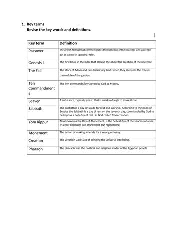 Key word test - Judaism KS3