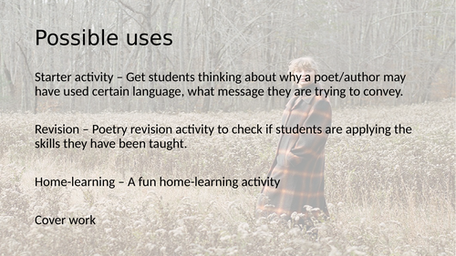 Starter / Revision / Home learning / cover work Poetry
