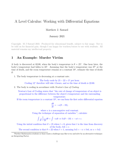 A Level Maths Differential Equations
