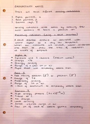 A Level Physics Notes: Radioactivity