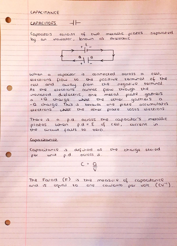 A Level Physics Notes: Capacitance