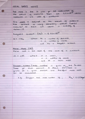 A Level Physics Notes: Ideal Gases