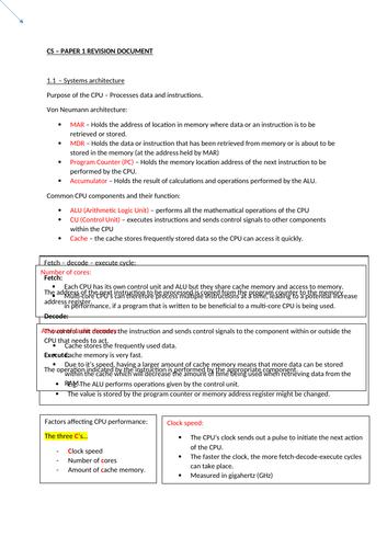 OCR GCSE Computer Science Revision document