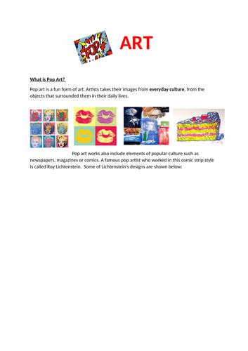 Pop Art Task: Onomatopoeia Comic Strip Words.  KS2 and KS3 Lesson. Inspired by Roy Lichtenstein