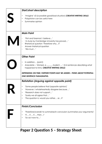 SMORF structure for English Language Paper 2, Question 5