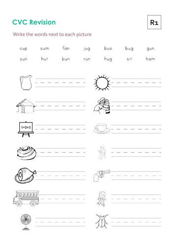 CVC Decode, Read and Write Worksheets