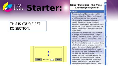 GCSE Eduqas Film Studies - The Wave SOW