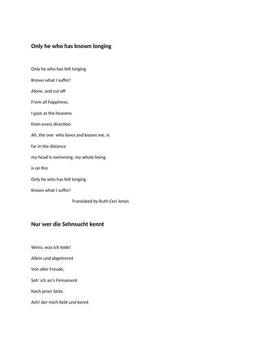 german poem by goethe 'Nur wer die Sehnsucht kennt' tigether with translation