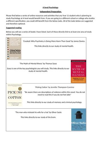 A-Level preparation reading list