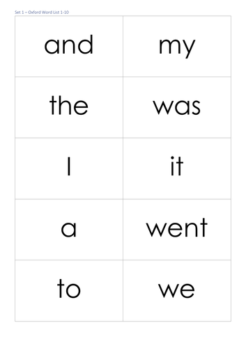 Oxford Sight Words 1-100 Flash Cards