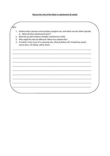 Role of the father (8m) writing frame