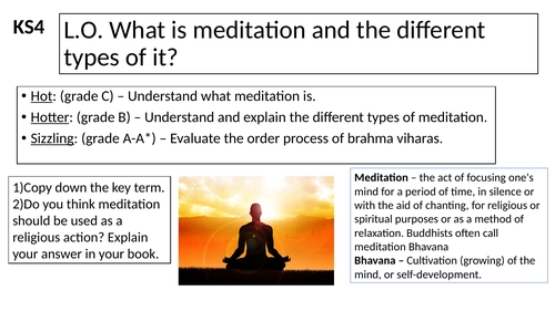 WJEC GCSE RE - Meditation - Buddhist Practices Unit One