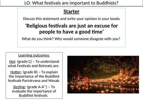 WJEC GCSE RE - Buddhist Festivals - Buddhist Practices Unit One