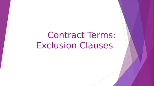 Contract Terms: Exclusion Clauses