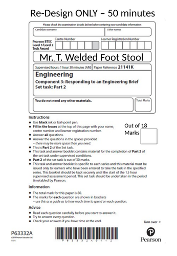 BTEC Engineering Tech Award (Mock Foot Stool)