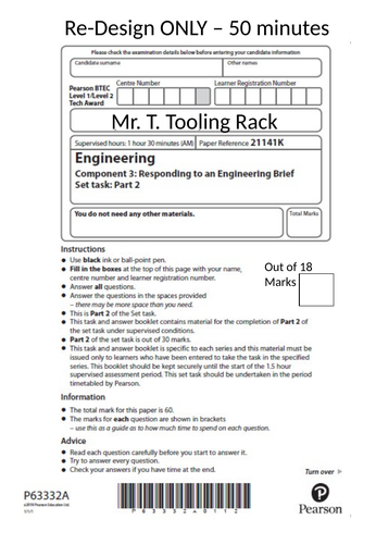 BTEC Engineering Tech Award (Mock Tool Rack)