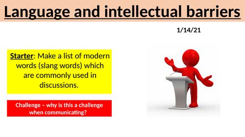 BTEC H&SC Level 2 Unit 2: L6 Language and intellectual barriers