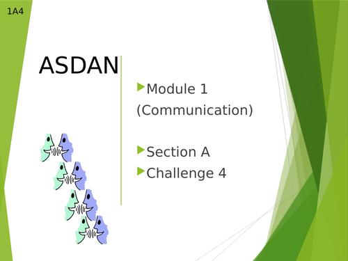 Asdan Module 1: Communication Section A4  lesson (CoPE Level 1)