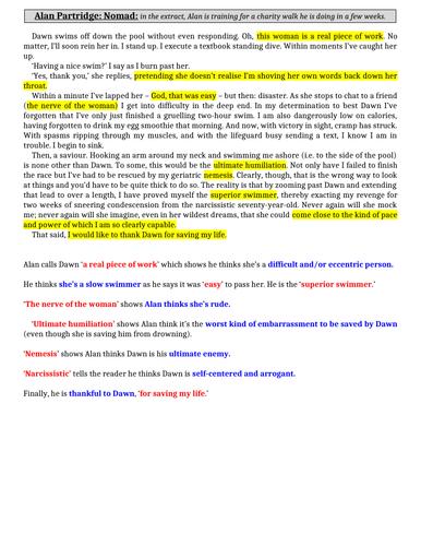 EDUQAS PAPER 1 READING: ALAN PARTRIDGE (GCSE English Lang)