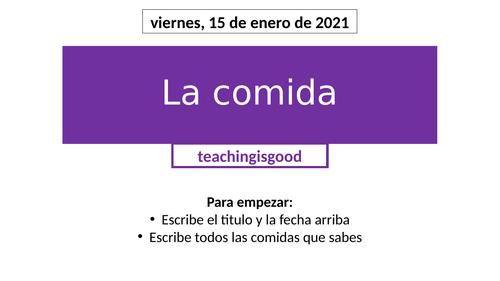 La Comida (GCSE / Pre-GCSE Spanish)