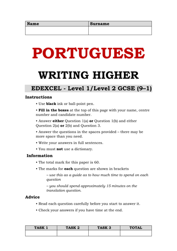 Portuguese Writing GCSE - Higher Tier - Edexcel Style