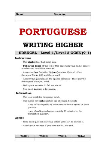 Portuguese GCSE Higher Writing - version 2