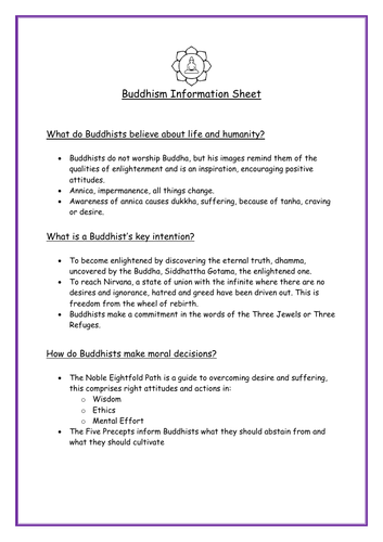 5 Main World Religions Info Sheets