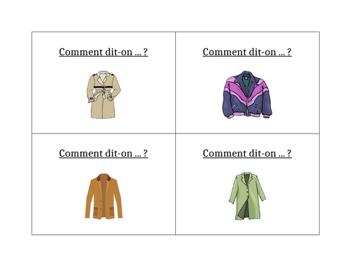 Vêtements (Clothing in French) Question Question Pass Activity