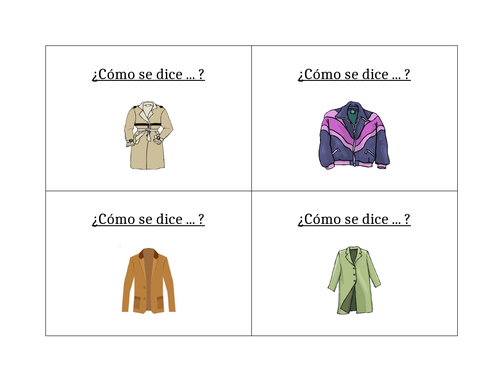 Ropa (Clothing in Spanish) Question Question Pass Activity