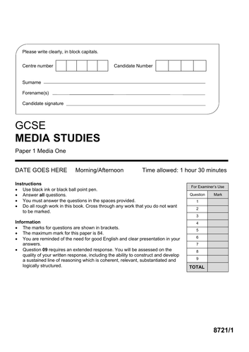 AQA GCSE Media Studies PAPER 1 Mock (Set 2)