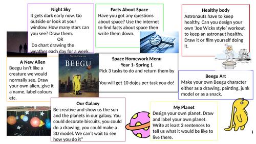 Space (Beegu) Homework menu- Year 1