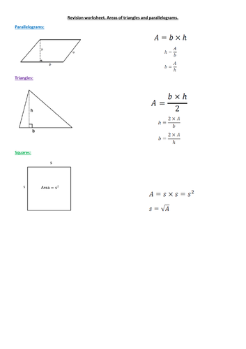 Areas of parallelograms and triangles. Worksheet +  Answers.
