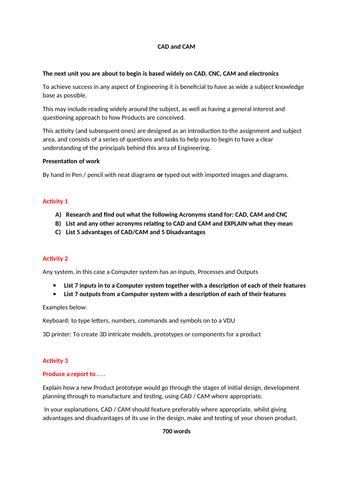 CAD CAM CNC report task