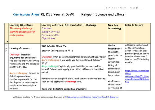 Religion, Ethics and Science Scheme of Work