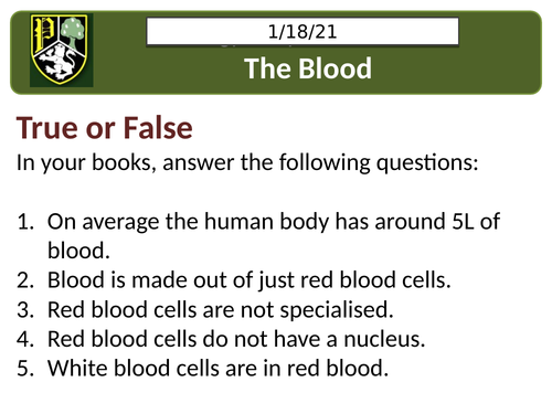 AQA B4.1 The blood