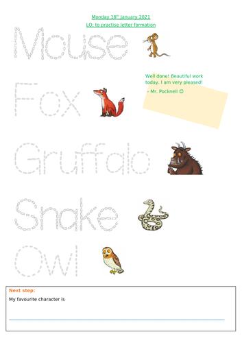 Gruffalo Letter Formation EYFS / Reception