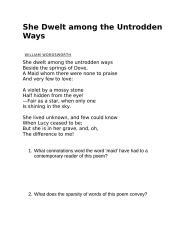 SHE DWELT AMONG THE UNTRODDEN WAYS WORDSWORTH worksheet lesson plan GCSE