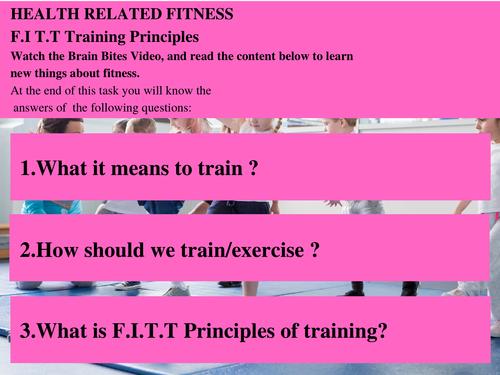 Grade 3 - Health related Fitness - FITT Principles of Training