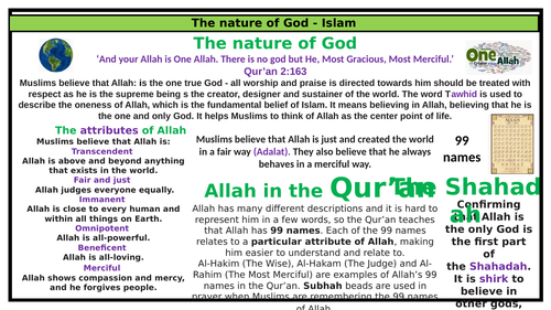 Islam home learning knowledge organiser- Nature of Allah