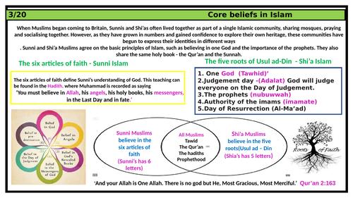 Islam knowledge organiser - Key beliefs religious studies home learning