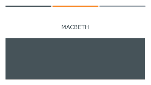 Macbeth: Remote Teaching