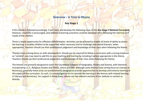 A Time to Rhyme! | Curriculum Coverage Overview | KS1