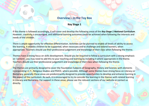 In the Toy Box! | Curriculum Coverage Overview | KS1
