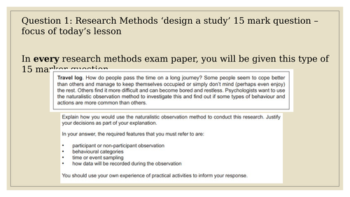 Psychology 'design a study' research methods essay
