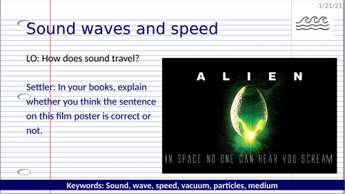 KS3 Sound waves and speed (Covid friendly)