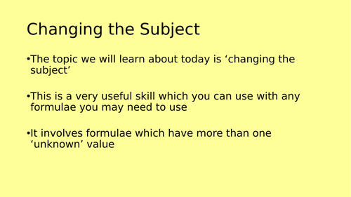 Changing the Subject / Re-Arrange Equation Full Lesson