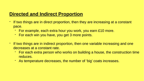Direct and Indirect Proportion Full Lesson
