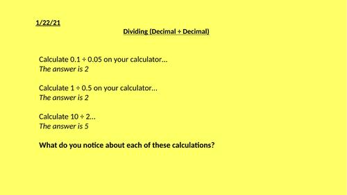 Dividing Decimals by Decimals Full Lesson