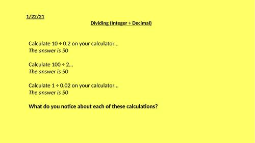 Integer Divided by Decimal Full Lesson