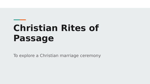 Christian rites of passage - Marriage